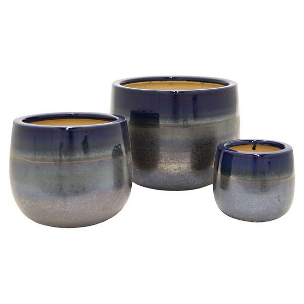 Picture of Set 3 Blue Ceramic Planters