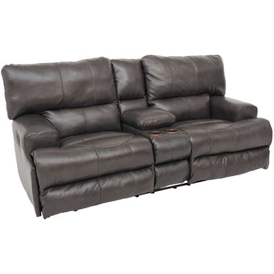 Picture of Wembley Steel Italian Leather Power Reclining Loveseat