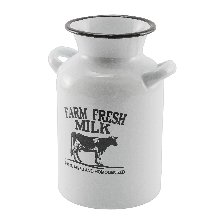 Farmhouse Enamelware Milk Can Vase or Utensil Holder