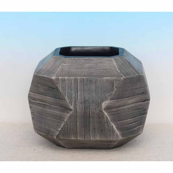 Picture of Etched Concave Taupe Vase