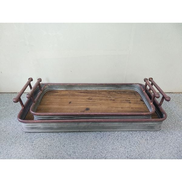 Picture of Set 2 Wood Metal Trays