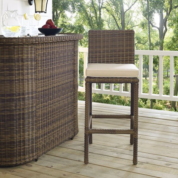 Picture of BRADENTON OUTDOOR WICKER BAR HEIGHT STOOLS W/SAND CUSHIONS