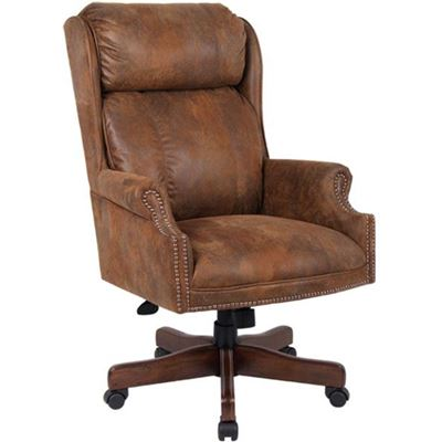 Picture of Centennial Oak Executive Chair - Tobacco Microfiber