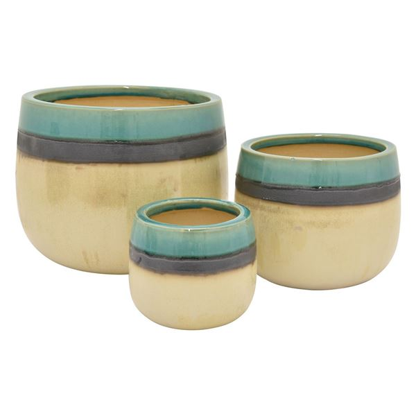 Picture of Set of 3 Blue and Grey Stripe Planters