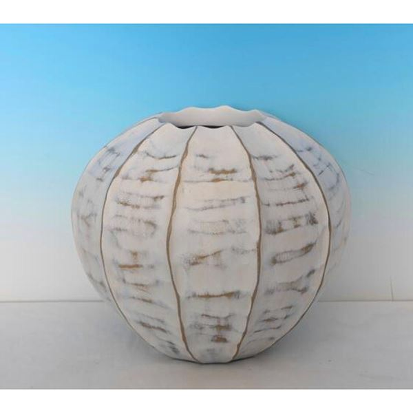Picture of Round Rubbed White Vase