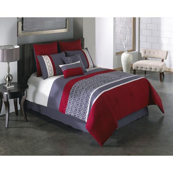 Picture of Carlin Red Grey Comforter Queen Set
