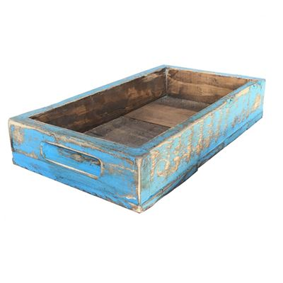 Picture of Rustic Wooden Tray - Light Blue