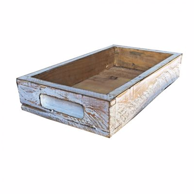 Picture of Rustic Wooden Tray - White