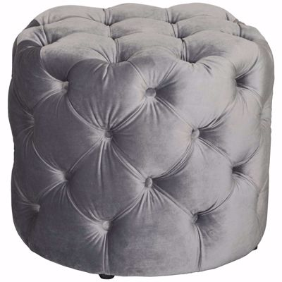 Picture of Olivia Tufted Gray Small Round Ottoman