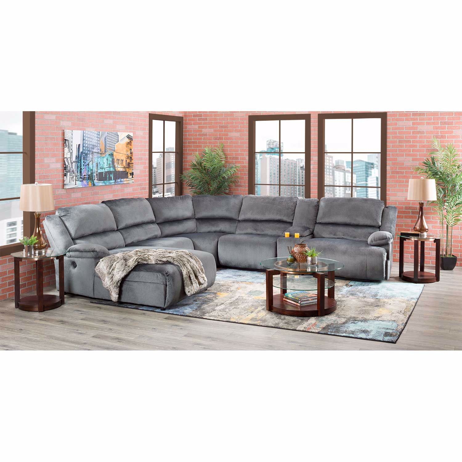 Picture of Clonmel 6 Piece Reclining Sectional with RAF Chaise