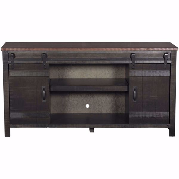 """Picture of Descanso 64"""" Highboy Barn Door Console, Charcoal"""