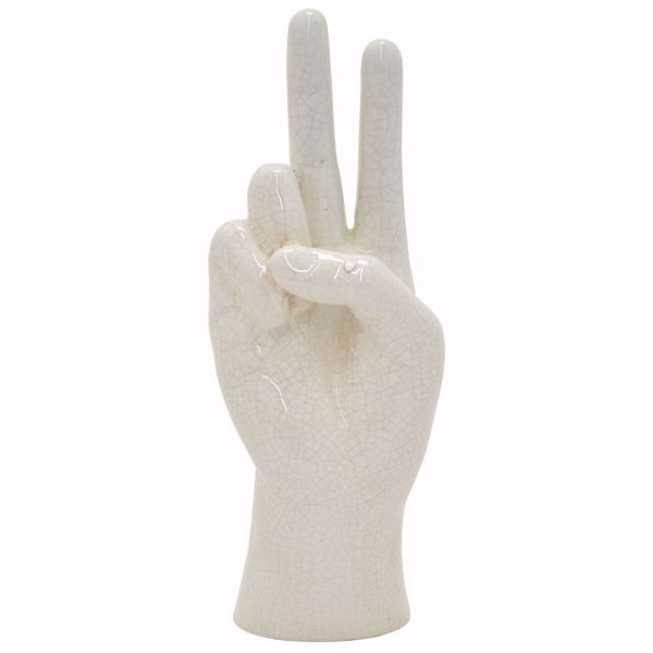 Picture of White Peace Sign Hand Figurine
