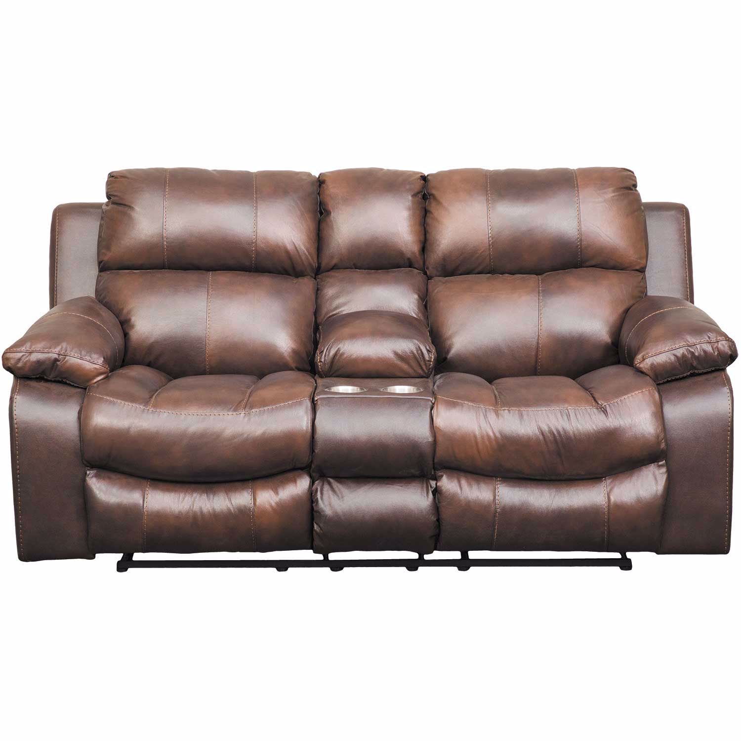 Picture of Positano Leather Power Reclining Console Loveseat