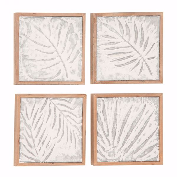 Picture of Set of 4 White Fern Wall Decor