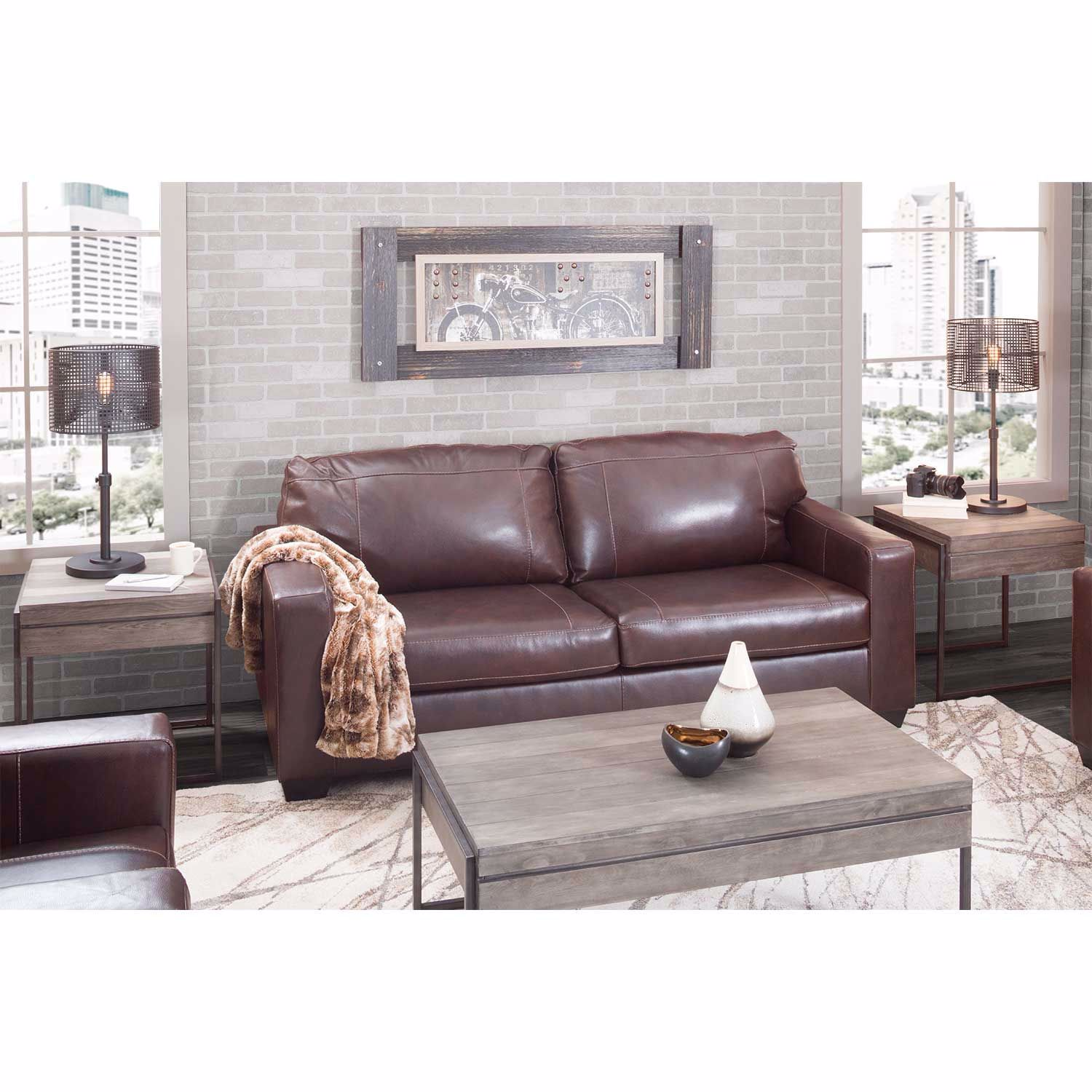 Picture of Morelos Brown Italian Leather Queen Sleeper Sofa