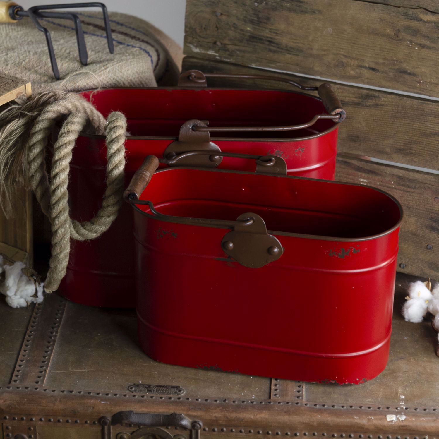 Picture of Set of 2 Red Oval Buckets