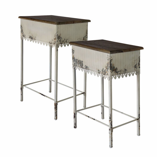 Picture of Set of 2 Metal Wood Accent Tables