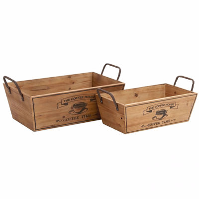 Picture of Set of 2 Wood Coffee Trays