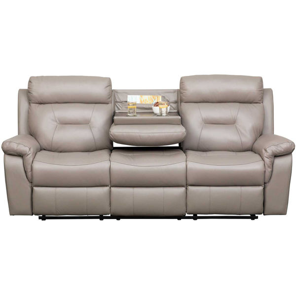 Picture of Watson Light Gray Leather Reclining Sofa with DDT