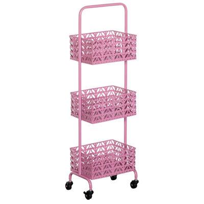 Picture of Pink Three Tier Metal Basket Cart