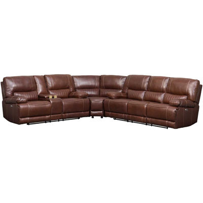 Picture of 3PC Brown Leather Power Reclining Sectional