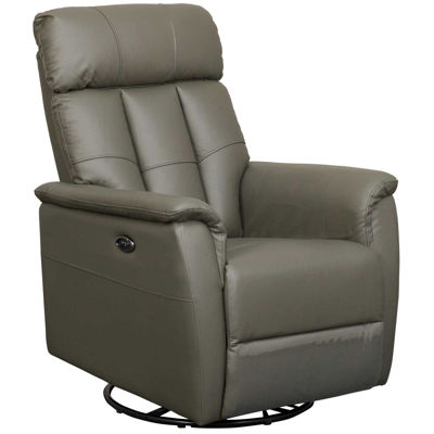 Picture of Remus Dark Gray Leather Power Swivel Rocker Recliner