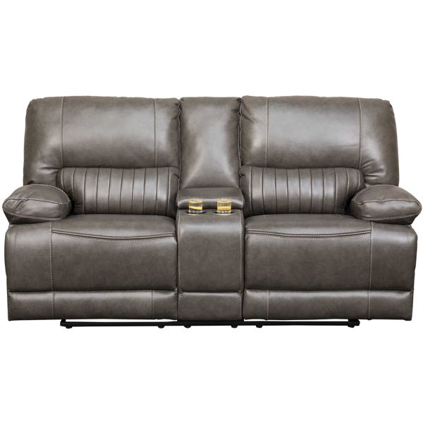 Picture of Rigby Gray Leather Power Recline Console Loveseat
