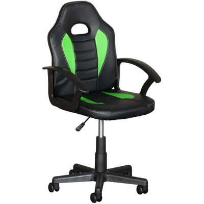 Picture of Black and Green Kids Racing Chair