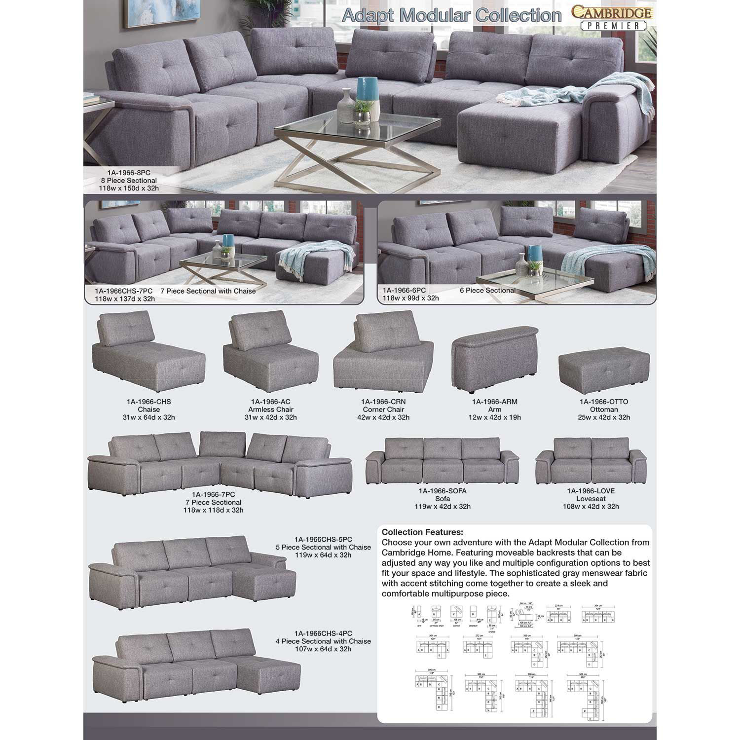 Picture of Adapt Gray 7 Piece Sectional