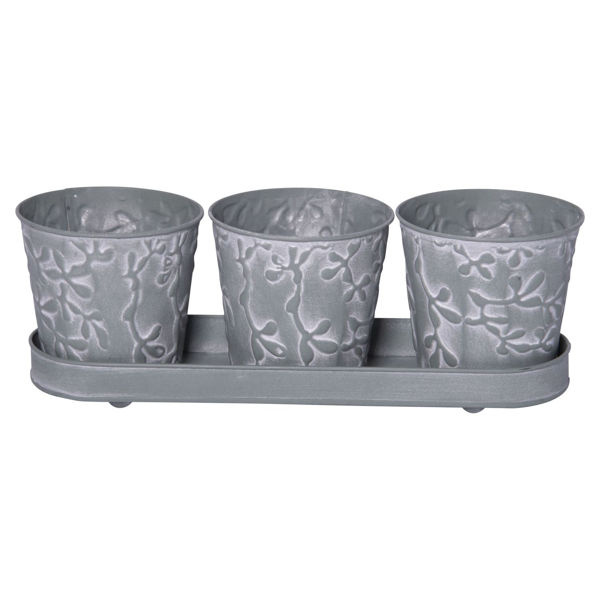 Picture of Set of 3 Embossed Metal Buckets with Tray