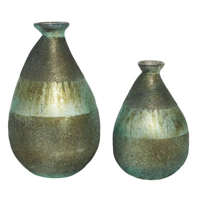 Picture of Set of 2 Glass Vases Blues