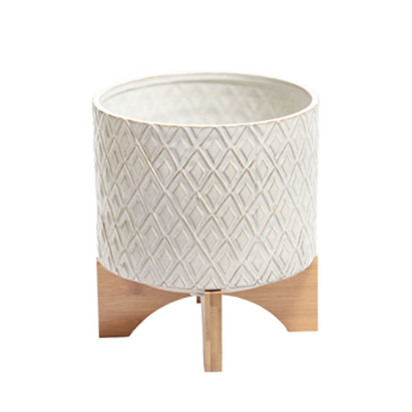 Picture of White Ceramic Pot with Wood