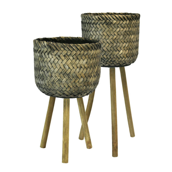 Picture of Set of 2 Bamboo Planters On Stand
