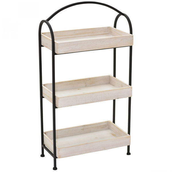 Picture of 3 Shelf Wood Metal Rack