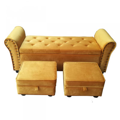 Picture of Set of 3 Mustard Bench with 2 Stools