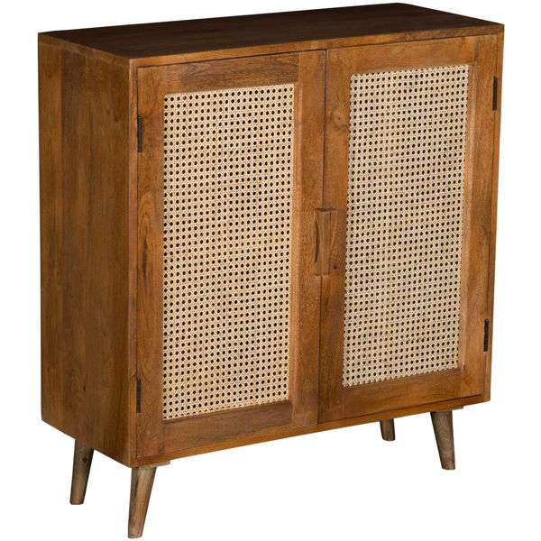 Picture of Solid Wood 2-Door Cabinet with Cane Inserts