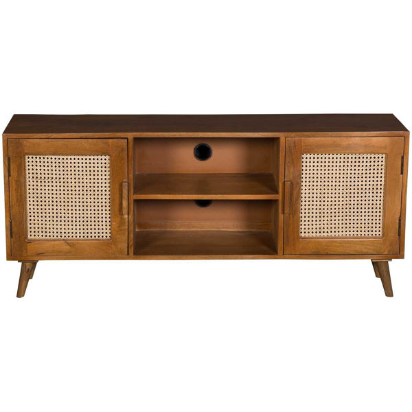 Picture of Solid Wood TV Stand with Cane Inserts