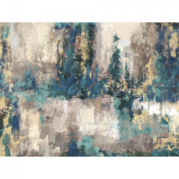 Picture of Teal, Blue and Gold Abstract Wall Art