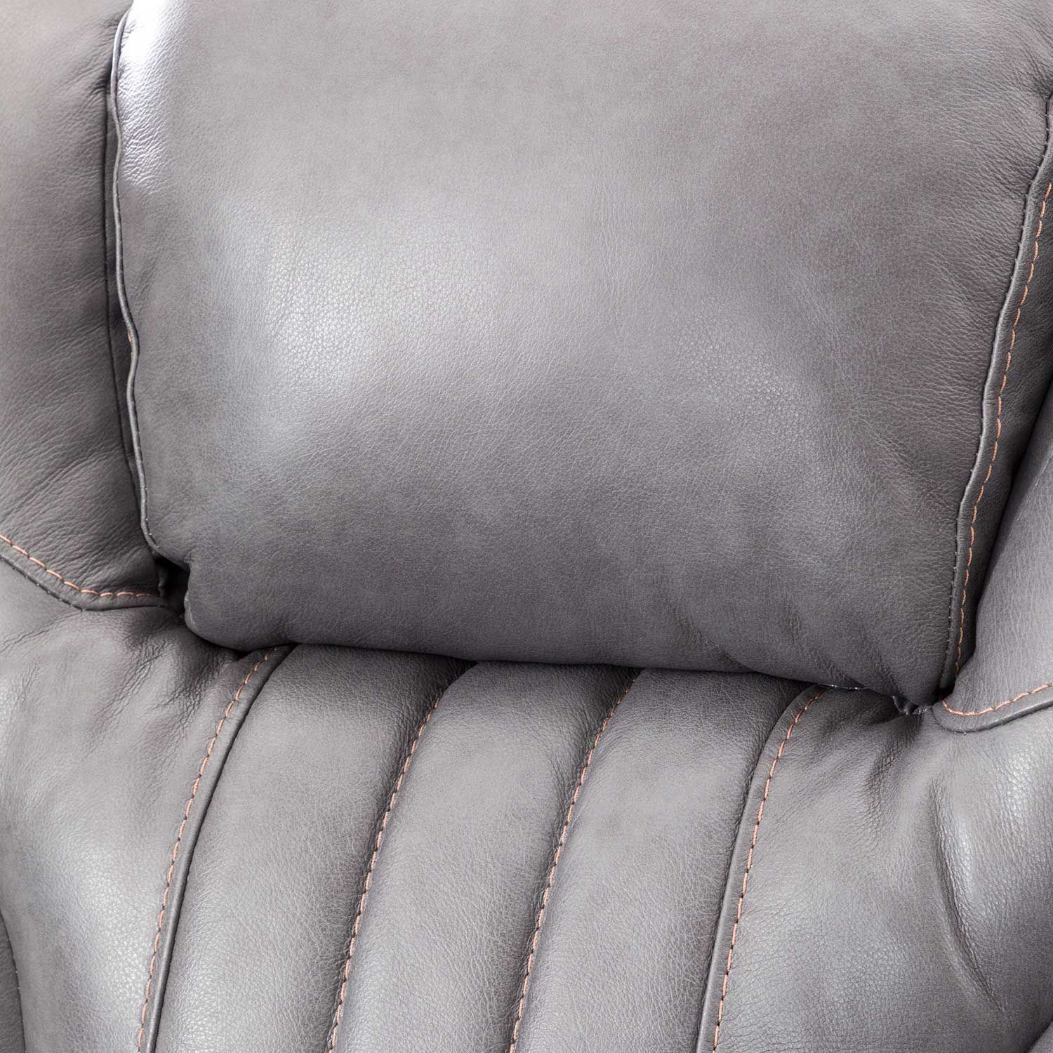 Picture of Outsider Gunmetal Gray Leather Power Reclining Console Loveseat with Power Adjustable Headrest