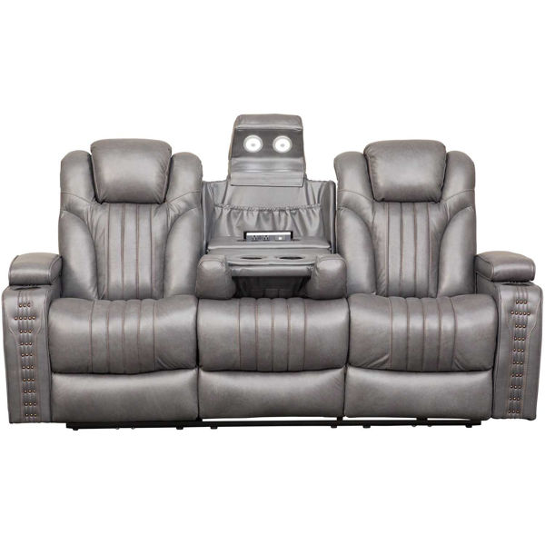 Outsider Gunmetal Gray Leather Power Reclining Sofa With Drop Table And Power Adjustable Headrest A794ua 405 816 Afw Com