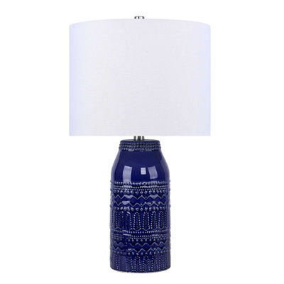 Picture of Blue Patterned Ceramic Table Lamp