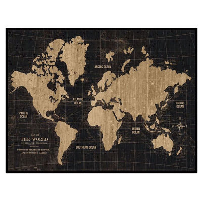 Picture of World Map Art with Black Frame