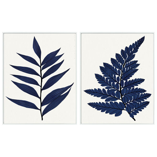 Picture of Set of 2 Blue Leaves Art White Frame