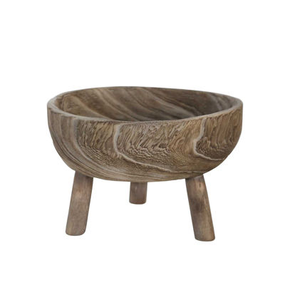 Picture of Grey Wood Bowl With Legs