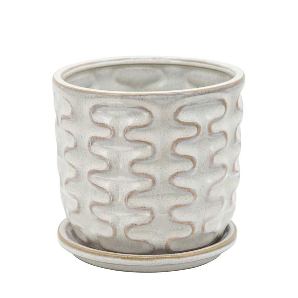 Picture of Wiggly Planter With Saucer Beige