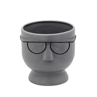Picture of Face With Glasses Gray Planter