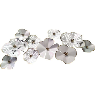 Picture of White Gold Flowers Wall Decor