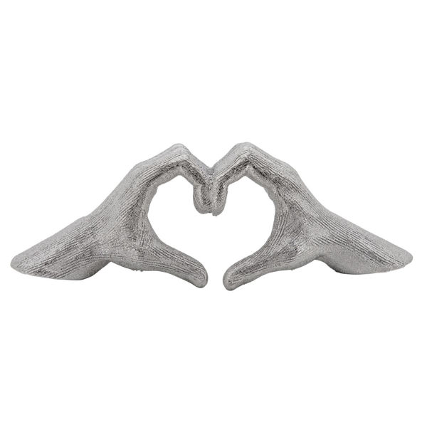 Picture of Hand Heart Silver Sculpture
