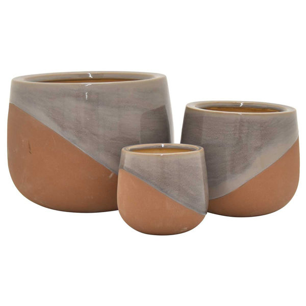Picture of SET 3 GREY CLAY PLANTERS