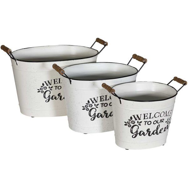 Picture of White Welcome Garden Container